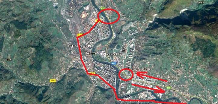 Zenica - saobraćajni pravci zbog radova na petlji Blatuša