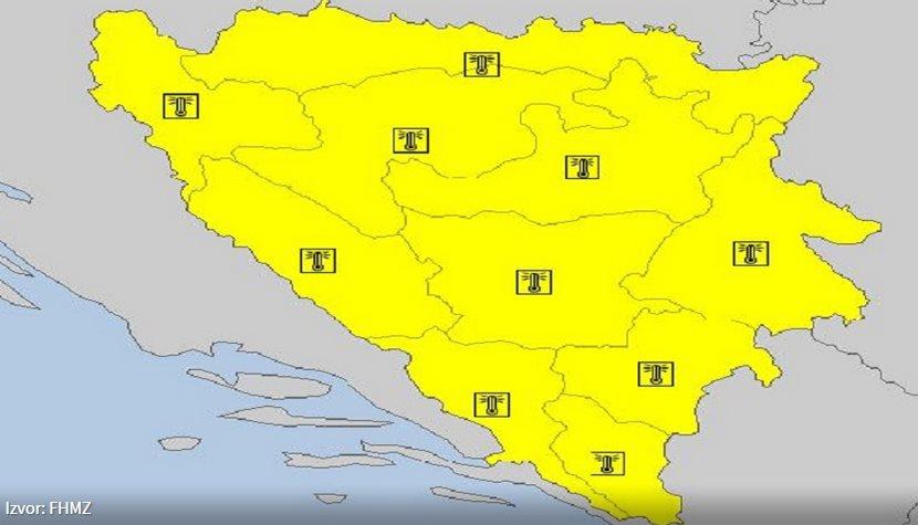 Žuti meteoalarm aktiviran za područje cijele BiH,jaka grmljavina